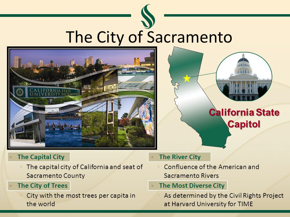 The City of Sacramento The Capital City ◦ The capital city of California and seat of Sacramento County The City of Trees ◦ City with the most trees per capita in the world The River City ◦ Confluence of the American and Sacramento Rivers The Most Diverse City ◦ As determined by the Civil Rights Project at Harvard University for TIME California State Capitol