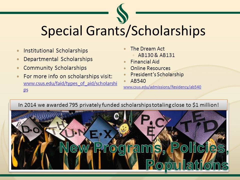 Special Grants/Scholarships Institutional Scholarships Departmental Scholarships Community Scholarships For more info on scholarships visit: www.csus.edu/faid/types_of_aid/scholarshi ps www.csus.edu/faid/types_of_aid/scholarshi ps The Dream Act ◦ AB130 & AB131 Financial Aid Online Resources President's Scholarship AB540 www.csus.edu/admissions/Residency/ab540 In 2014 we awarded 795 privately funded scholarships totaling close to $1 million!
