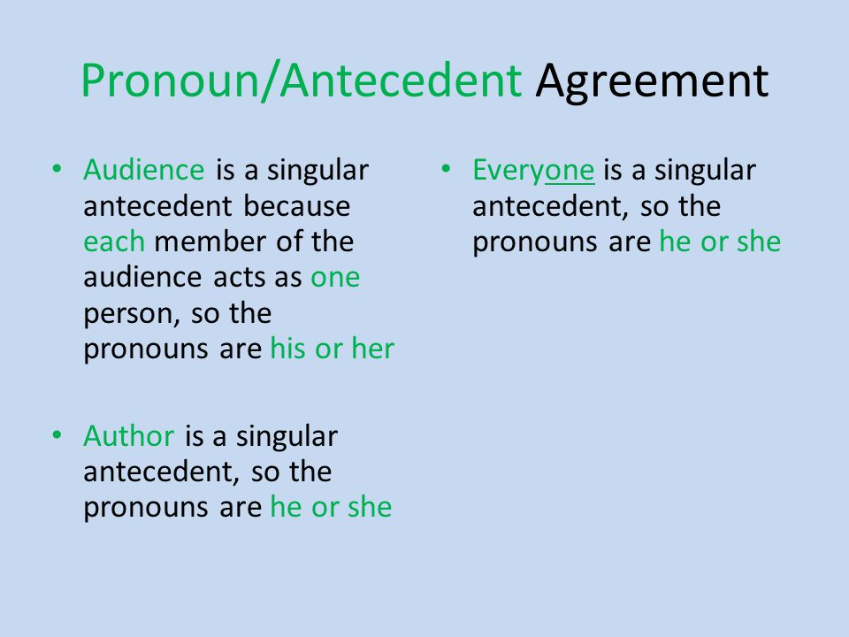 Pronoun/Antecedent Agreement Audience is a singular antecedent because each member of the audience acts as one person, so the pronouns are his or her Author is a singular antecedent, so the pronouns are he or she Everyone is a singular antecedent, so the pronouns are he or she