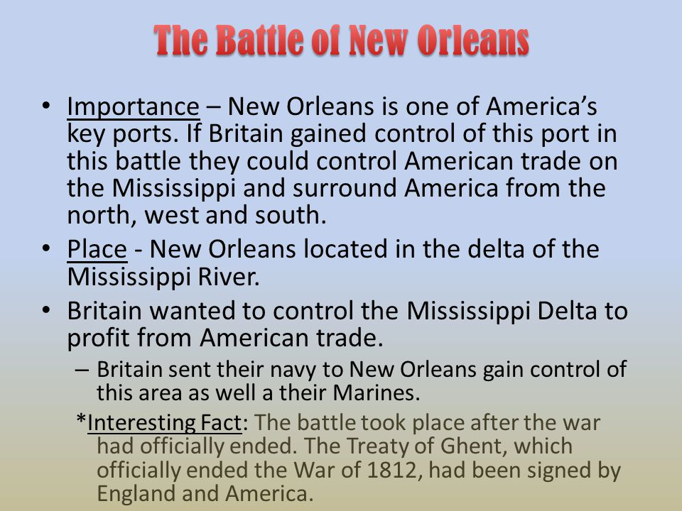 Importance – New Orleans is one of America's key ports.