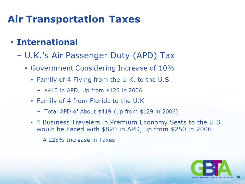 18 Air Transportation Taxes International –U.K.'s Air Passenger Duty (APD) Tax  Government Considering Increase of 10% Family of 4 Flying from the U.K.