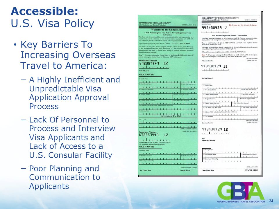 24 Accessible: U.S. Visa Policy Key Barriers To Increasing Overseas Travel to America: −A Highly Inefficient and Unpredictable Visa Application Approv