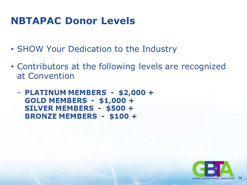 34 NBTAPAC Donor Levels SHOW Your Dedication to the Industry Contributors at the following levels are recognized at Convention –PLATINUM MEMBERS - $2,