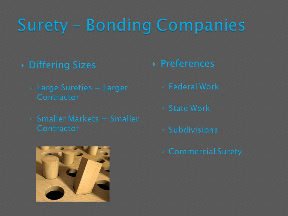  Differing Sizes ◦ Large Sureties = Larger Contractor ◦ Smaller Markets = Smaller Contractor  Preferences ◦ Federal Work ◦ State Work ◦ Subdivisions ◦ Commercial Surety