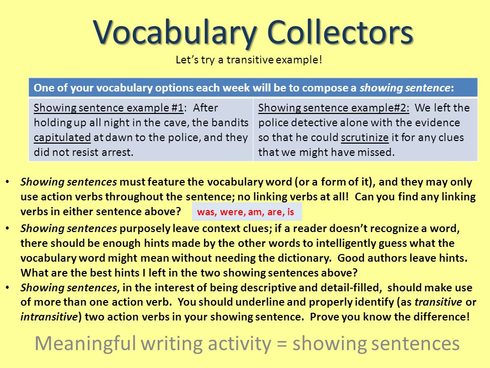 Vocabulary Collectors Vocabulary Showing Sentences Rubric: 4 points3 points2 points1 point The showing sentence does all: The showing sentence does three: The showing sentence does two: The showing sentence does one: The sentence is complex and only uses action verbs.