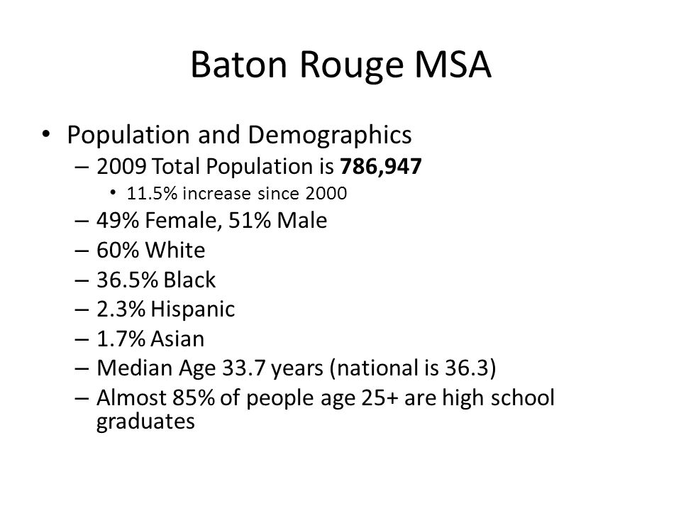 Baton Rouge MSA Population and Demographics – 2009 Total Population is 786,947 11.5% increase since 2000 – 49% Female, 51% Male – 60% White – 36.5% Black – 2.3% Hispanic – 1.7% Asian – Median Age 33.7 years (national is 36.3) – Almost 85% of people age 25+ are high school graduates