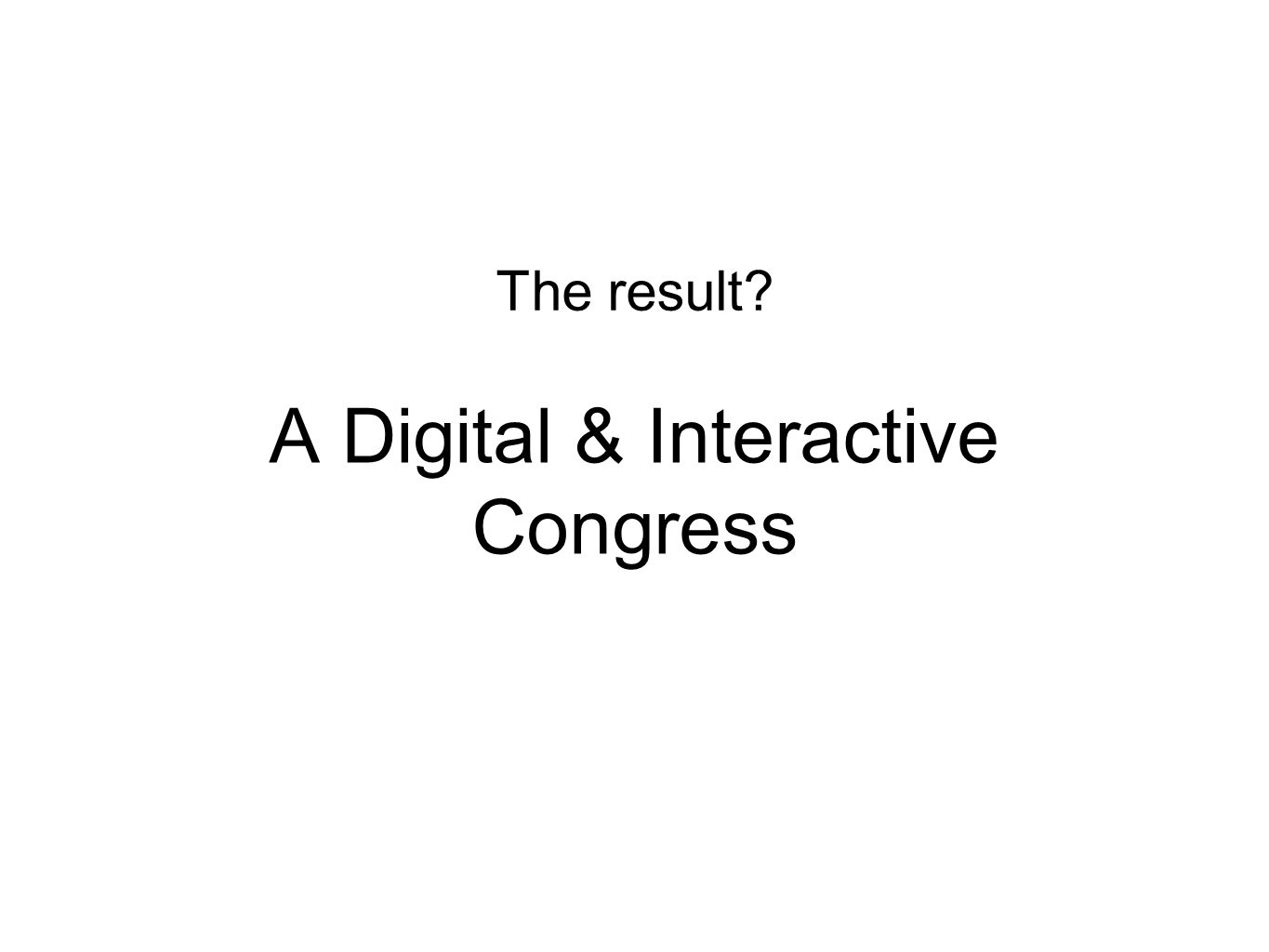 A Digital & Interactive Congress The result?