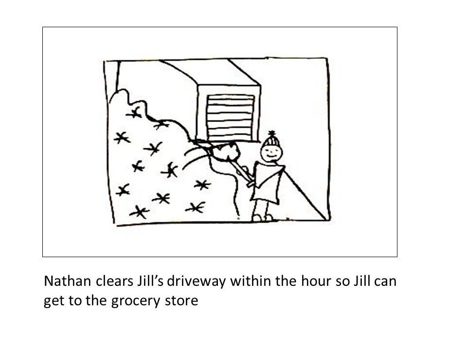 Nathan clears Jill's driveway within the hour so Jill can get to the grocery store