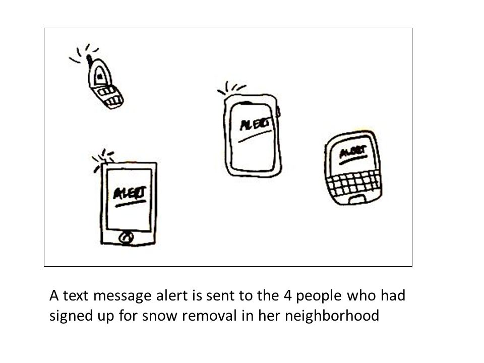 A text message alert is sent to the 4 people who had signed up for snow removal in her neighborhood