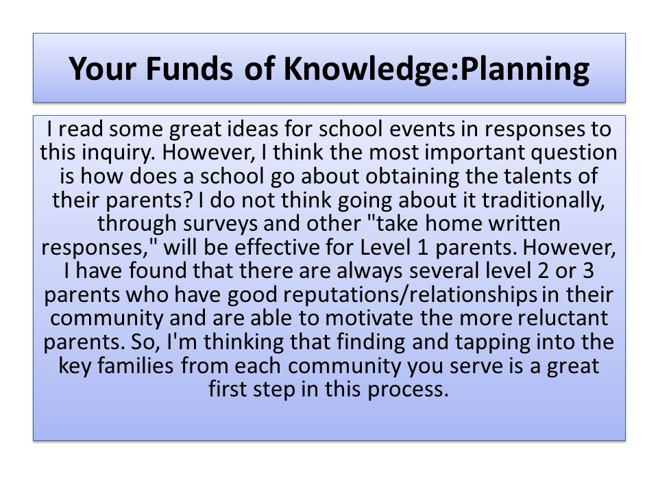 Your Funds of Knowledge:Planning I read some great ideas for school events in responses to this inquiry. However, I think the most important question