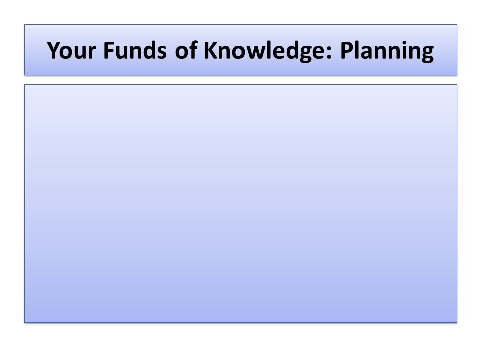 Your Funds of Knowledge: Planning