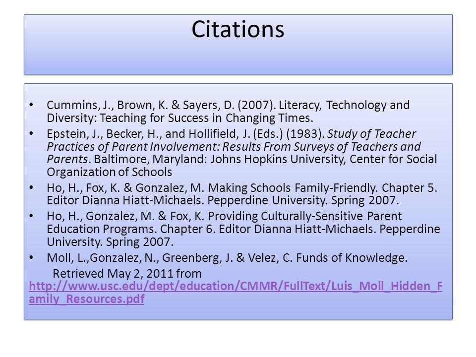 Citations Cummins, J., Brown, K. & Sayers, D. (2007).