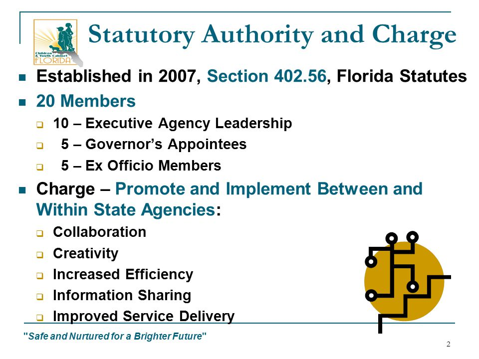 Safe and Nurtured for a Brighter Future 2 Statutory Authority and Charge Established in 2007, Section 402.56, Florida Statutes 20 Members  10 – Executive Agency Leadership  5 – Governor's Appointees  5 – Ex Officio Members Charge – Promote and Implement Between and Within State Agencies:  Collaboration  Creativity  Increased Efficiency  Information Sharing  Improved Service Delivery