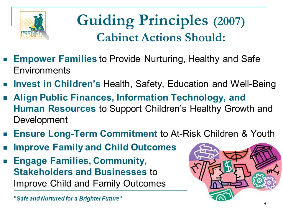 Safe and Nurtured for a Brighter Future 4 Guiding Principles (2007) Cabinet Actions Should: Empower Families to Provide Nurturing, Healthy and Safe Environments Invest in Children's Health, Safety, Education and Well-Being Align Public Finances, Information Technology, and Human Resources to Support Children's Healthy Growth and Development Ensure Long-Term Commitment to At-Risk Children & Youth Improve Family and Child Outcomes Engage Families, Community, Stakeholders and Businesses to Improve Child and Family Outcomes