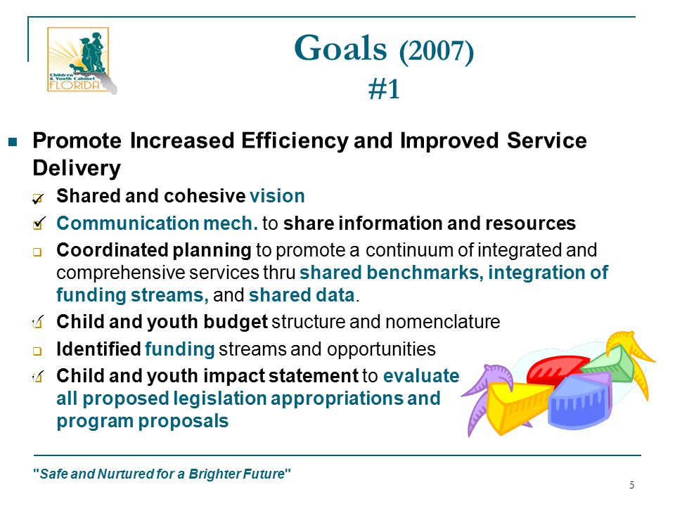 Safe and Nurtured for a Brighter Future 5 Goals (2007) #1 Promote Increased Efficiency and Improved Service Delivery  Shared and cohesive vision  Communication mech.