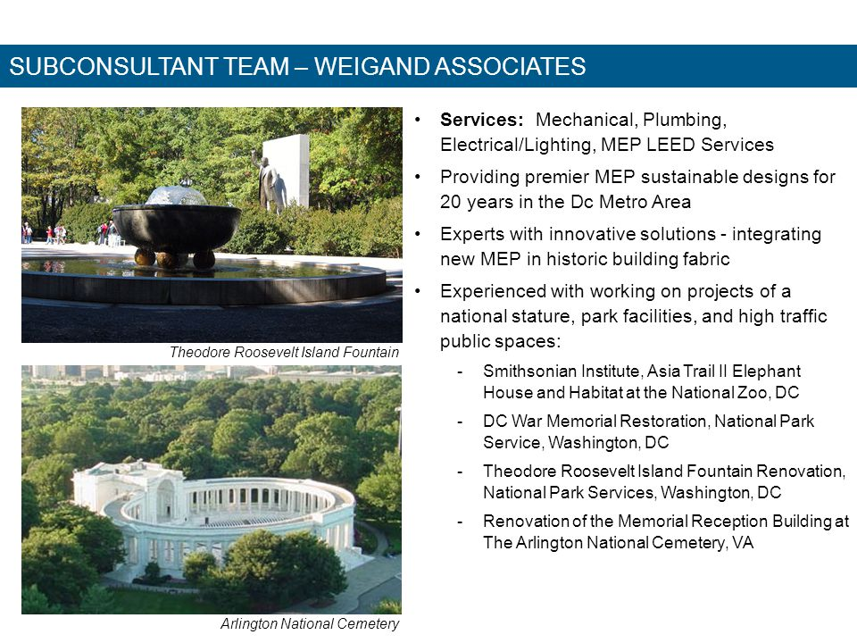 SUBCONSULTANT TEAM – WEIGAND ASSOCIATES Services: Mechanical, Plumbing, Electrical/Lighting, MEP LEED Services Providing premier MEP sustainable desig
