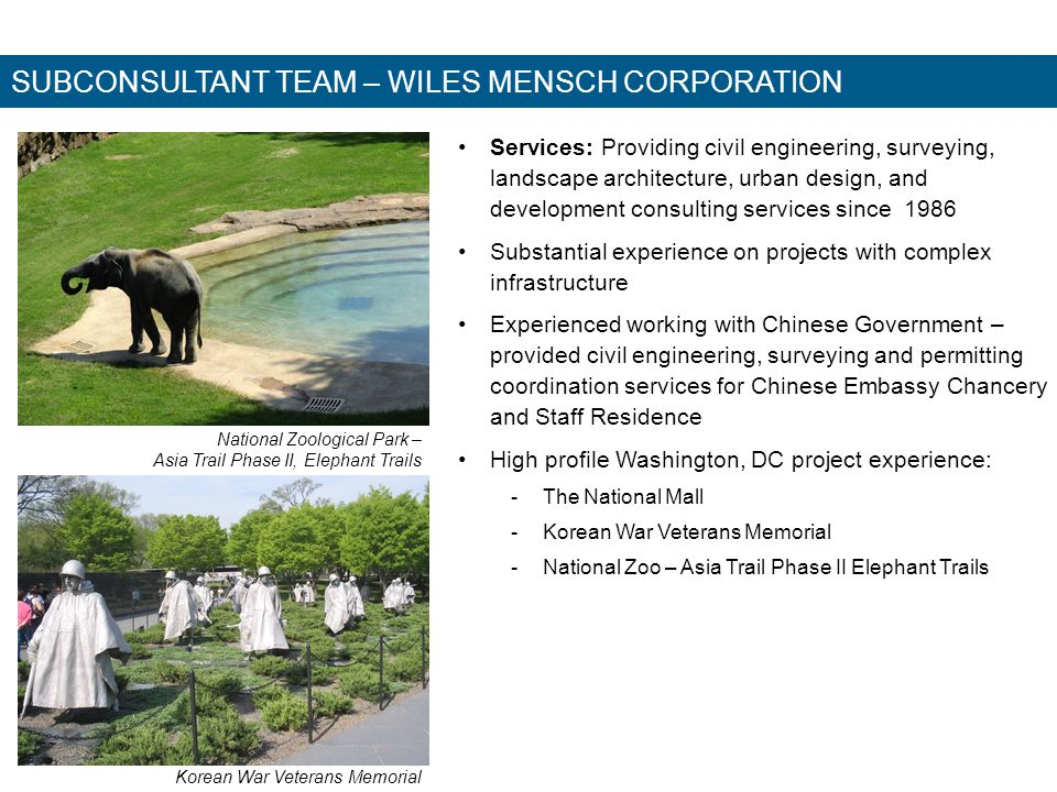 SUBCONSULTANT TEAM – WILES MENSCH CORPORATION Services: Providing civil engineering, surveying, landscape architecture, urban design, and development