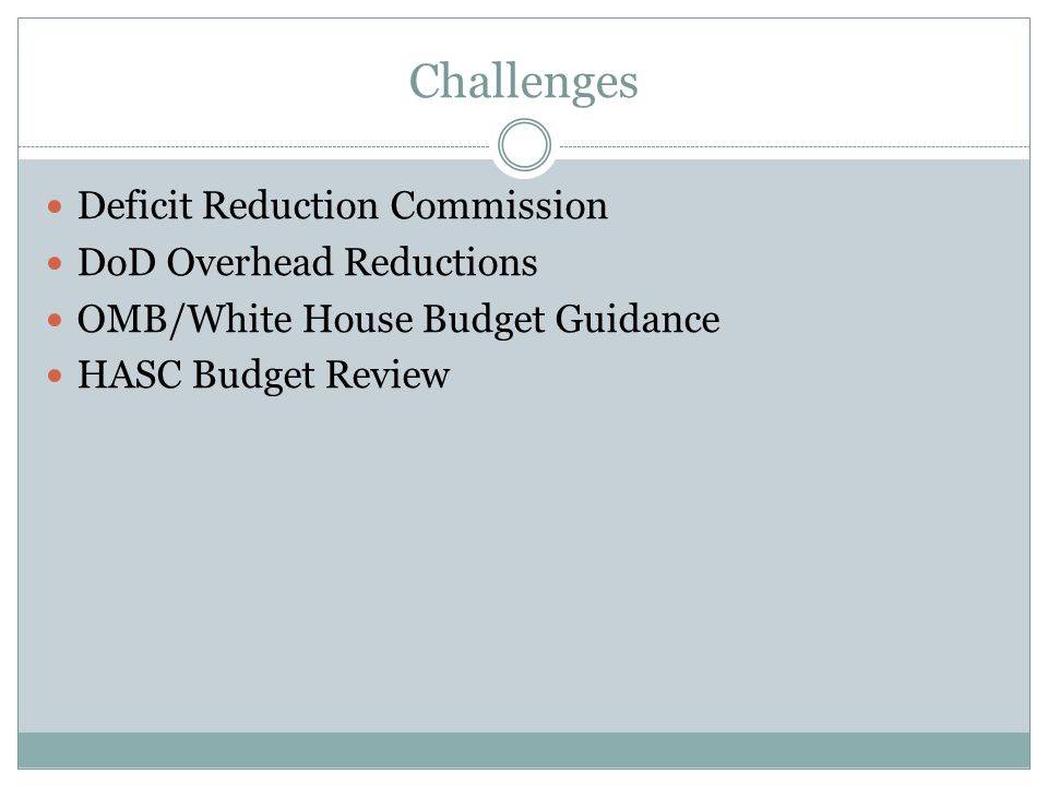 Challenges Deficit Reduction Commission DoD Overhead Reductions OMB/White House Budget Guidance HASC Budget Review