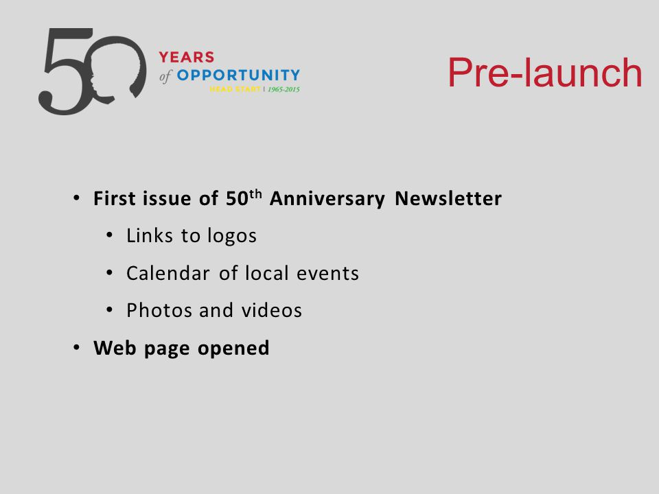 Pre-launch First issue of 50 th Anniversary Newsletter Links to logos Calendar of local events Photos and videos Web page opened