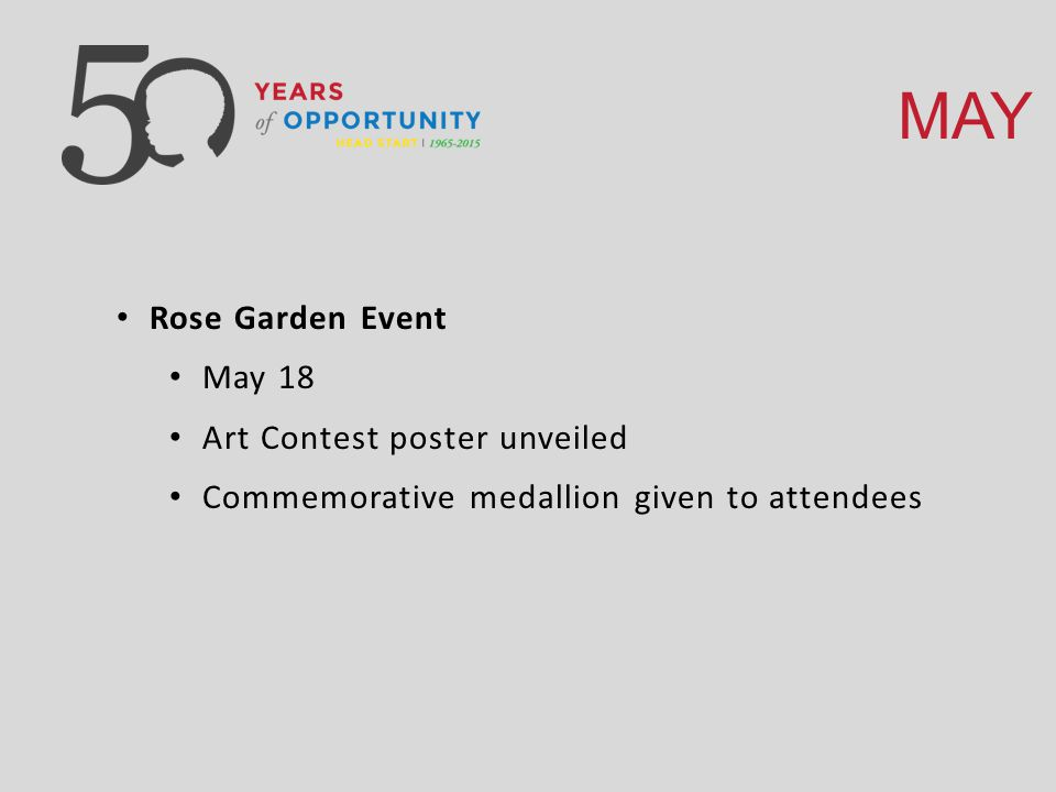 MAY Rose Garden Event May 18 Art Contest poster unveiled Commemorative medallion given to attendees