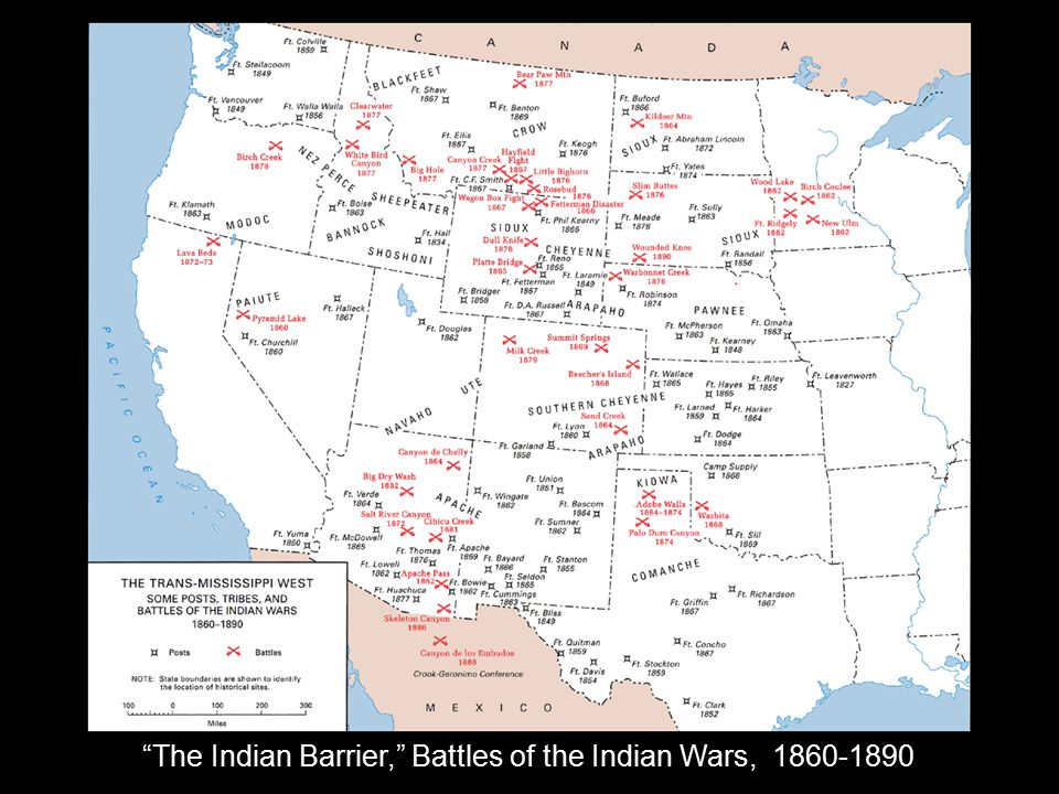 The Indian Barrier, Battles of the Indian Wars, 1860-1890