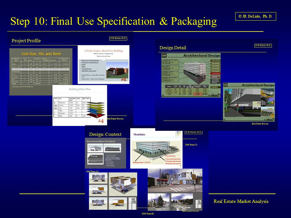 Real Estate Market Analysis © JR DeLisle, Ph. D. Step 10: Final Use Specification & Packaging