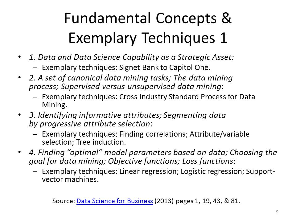 Fundamental Concepts & Exemplary Techniques 1 1. Data and Data Science Capability as a Strategic Asset: – Exemplary techniques: Signet Bank to Capitol