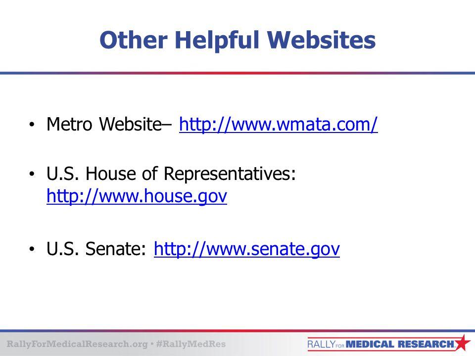 Other Helpful Websites Metro Website– http://www.wmata.com/http://www.wmata.com/ U.S.