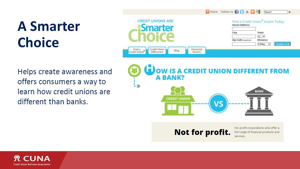 A Smarter Choice Helps create awareness and offers consumers a way to learn how credit unions are different than banks.