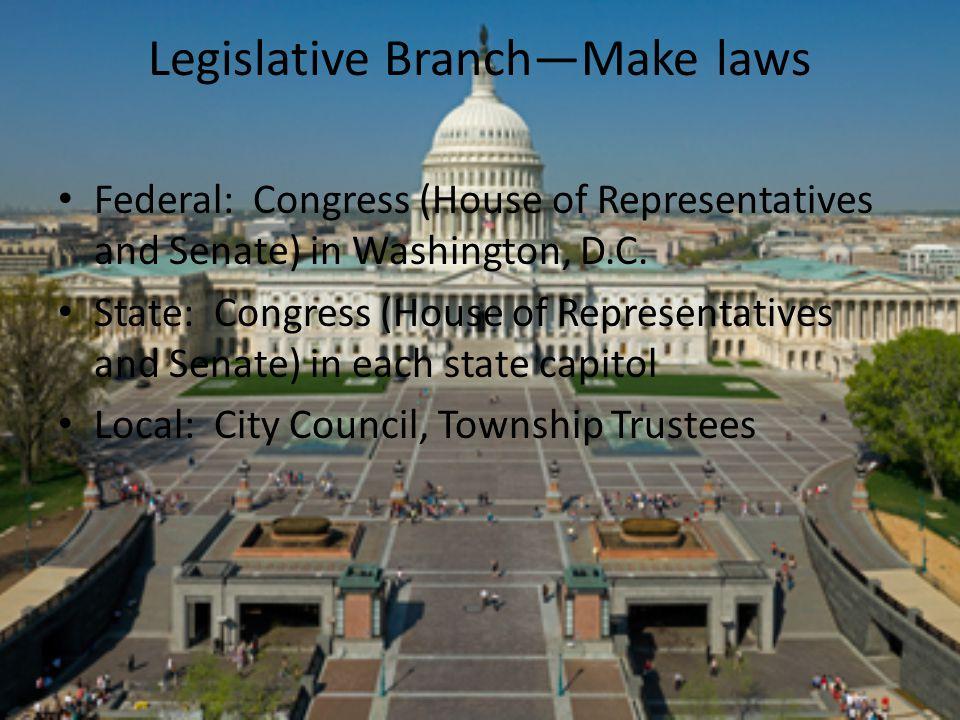 Legislative Branch—Make laws Federal: Congress (House of Representatives and Senate) in Washington, D.C. State: Congress (House of Representatives and