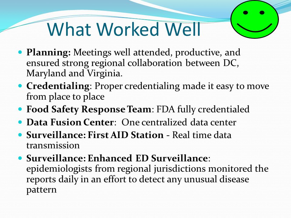 What Worked Well Planning: Meetings well attended, productive, and ensured strong regional collaboration between DC, Maryland and Virginia. Credential