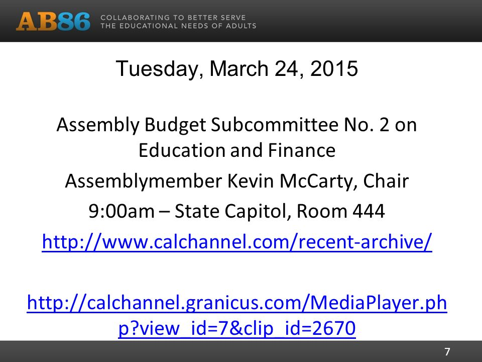 Tuesday, March 24, 2015 Assembly Budget Subcommittee No.