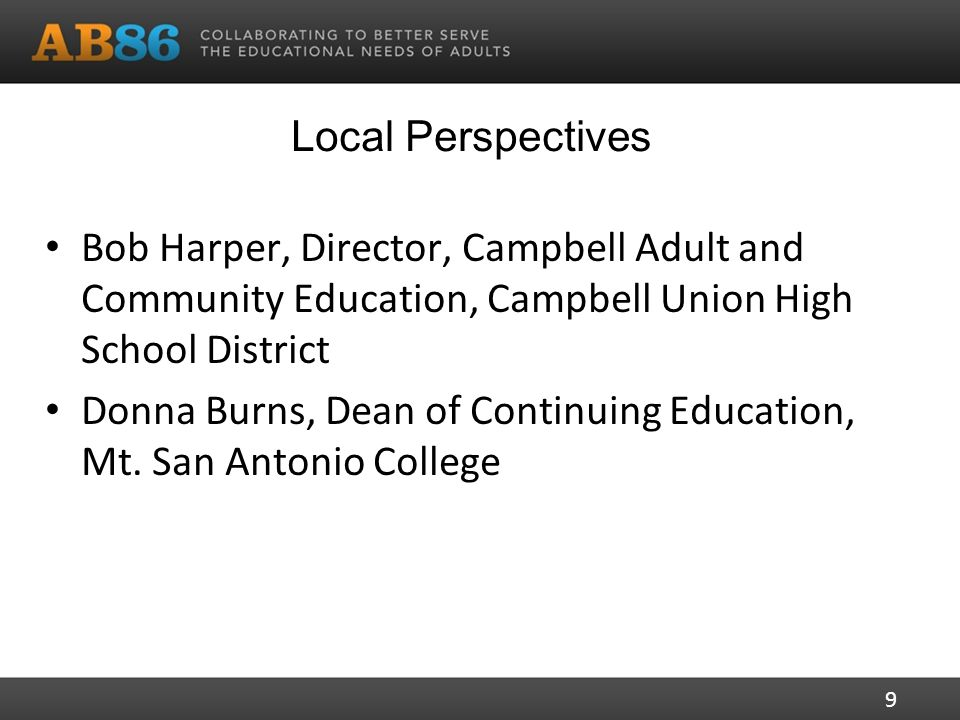 Local Perspectives Bob Harper, Director, Campbell Adult and Community Education, Campbell Union High School District Donna Burns, Dean of Continuing Education, Mt.