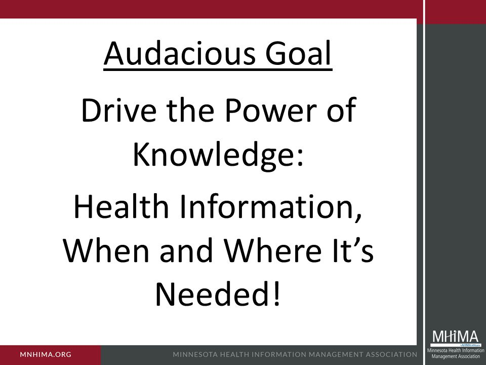 Audacious Goal Drive the Power of Knowledge: Health Information, When and Where It's Needed!