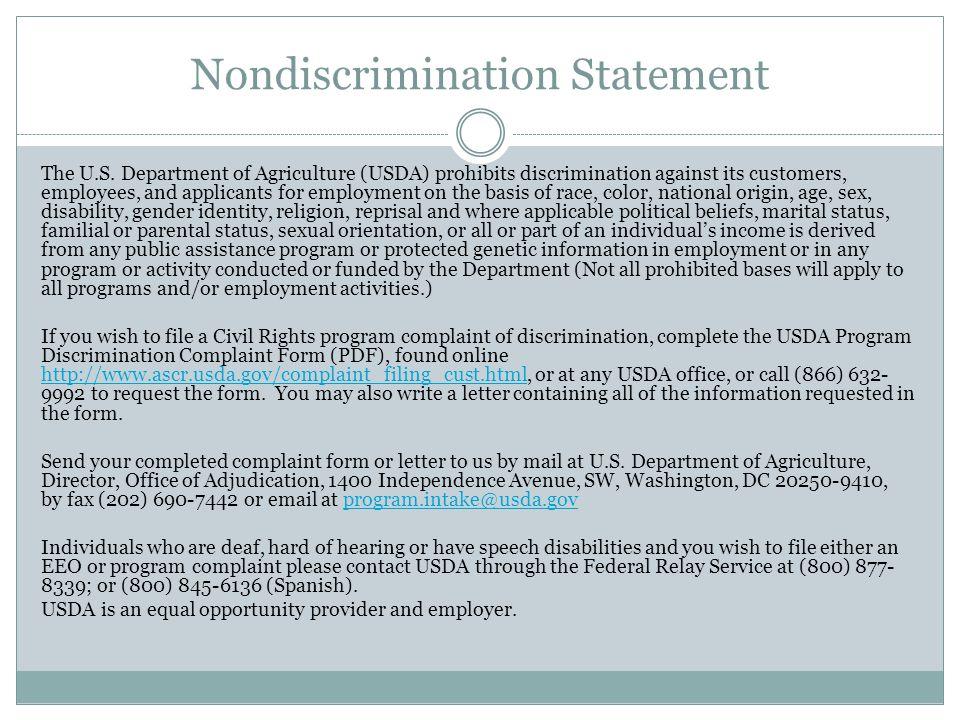Nondiscrimination Statement The U.S.