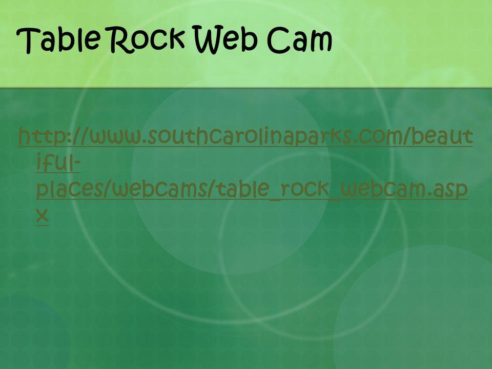 Table Rock Web Cam http://www.southcarolinaparks.com/beaut iful- places/webcams/table_rock_webcam.asp x