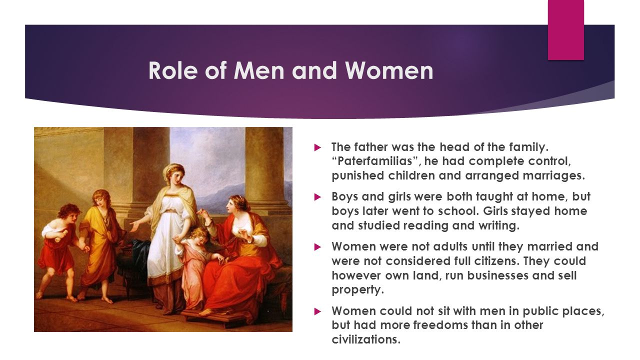 "Role of Men and Women  The father was the head of the family. ""Paterfamilias"", he had complete control, punished children and arranged marriages.  B"