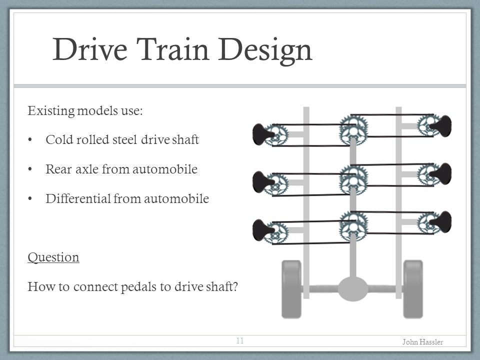 Drive Train Design Existing models use: Cold rolled steel drive shaft Rear axle from automobile Differential from automobile Question How to connect pedals to drive shaft.