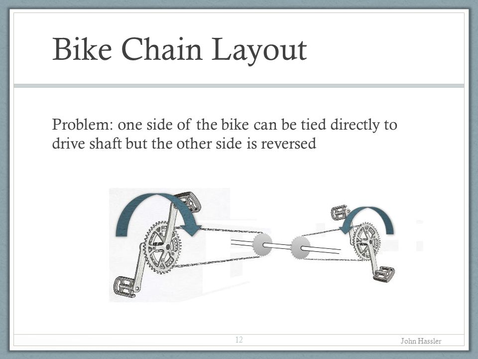 Bike Chain Layout Problem: one side of the bike can be tied directly to drive shaft but the other side is reversed 12 John Hassler