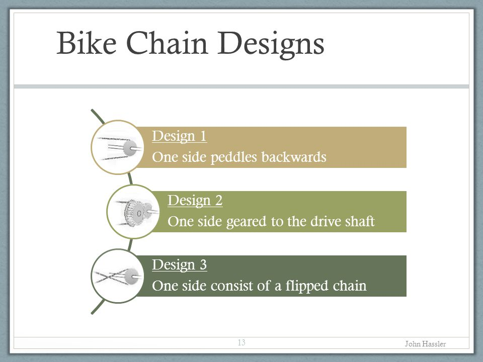 Bike Chain Designs 13 Design 1 One side peddles backwards Design 2 One side geared to the drive shaft Design 3 One side consist of a flipped chain John Hassler
