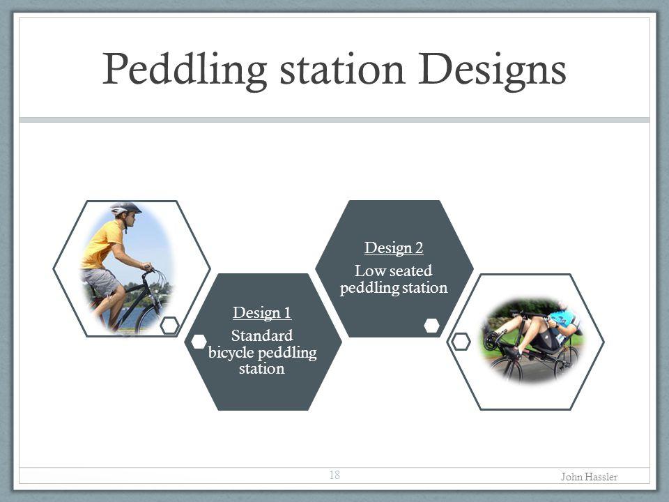 Peddling station Designs 18 Design 1 Standard bicycle peddling station Design 2 Low seated peddling station John Hassler