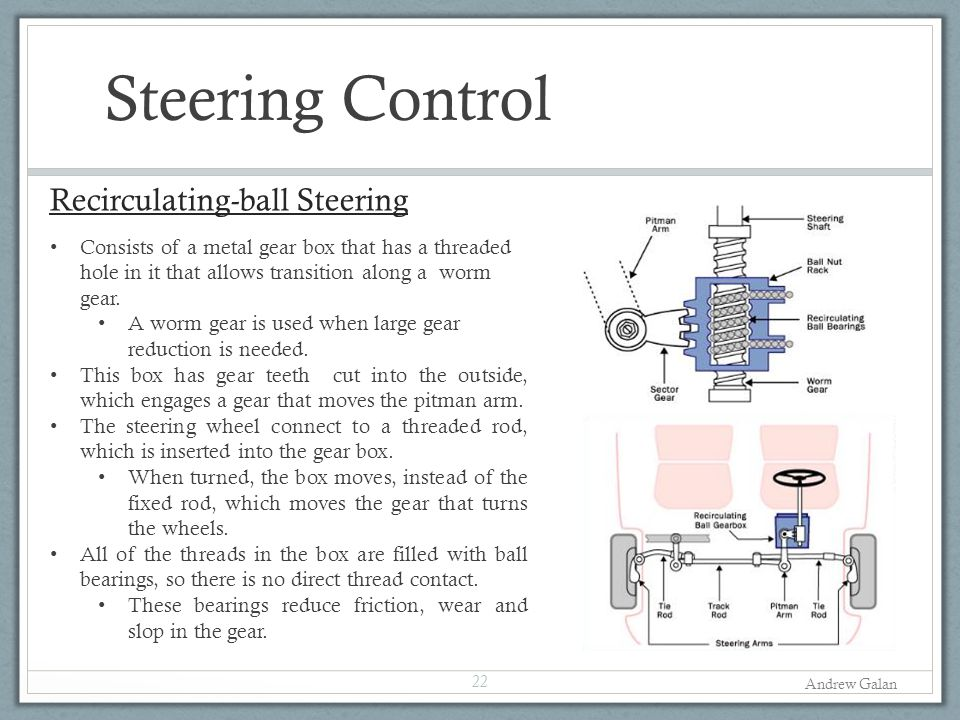 Steering Control Recirculating-ball Steering 22 Consists of a metal gear box that has a threaded hole in it that allows transition along a worm gear.