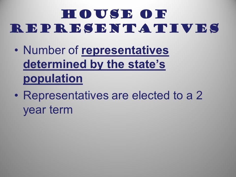 Senate 2 representatives from each state Senators serve 6 year terms