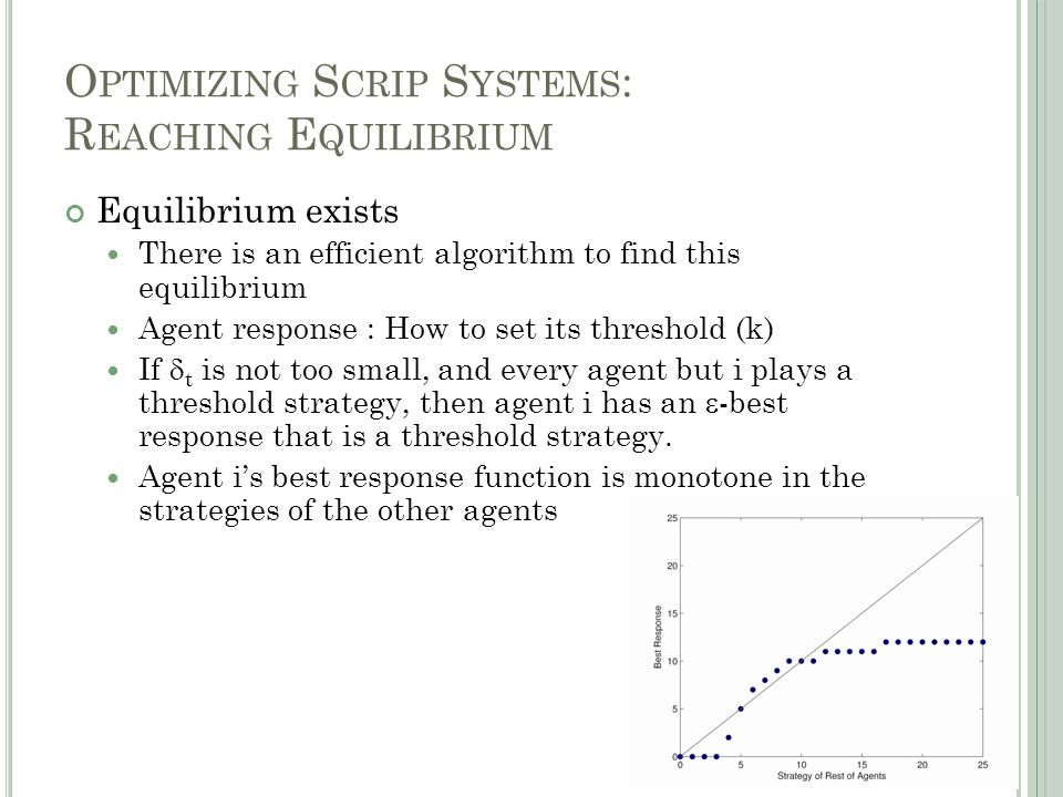 O PTIMIZING S CRIP S YSTEMS : R EACHING E QUILIBRIUM Equilibrium exists There is an efficient algorithm to find this equilibrium Agent response : How to set its threshold (k) If  t is not too small, and every agent but i plays a threshold strategy, then agent i has an  -best response that is a threshold strategy.