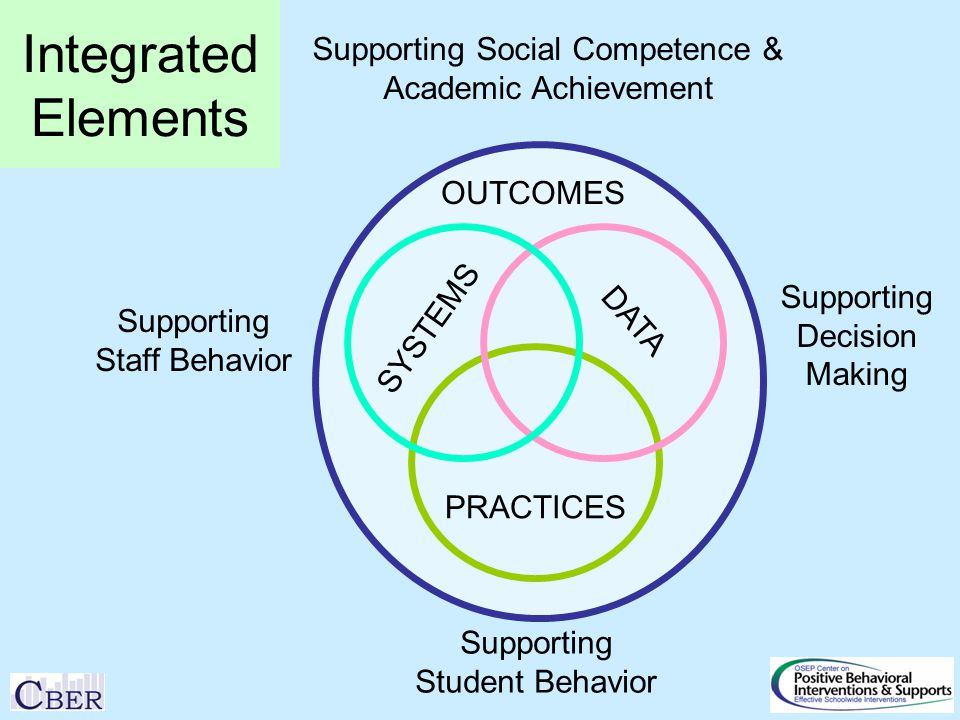 SYSTEMS PRACTICES DATA Supporting Staff Behavior Supporting Student Behavior OUTCOMES Supporting Social Competence & Academic Achievement Supporting Decision Making Integrated Elements