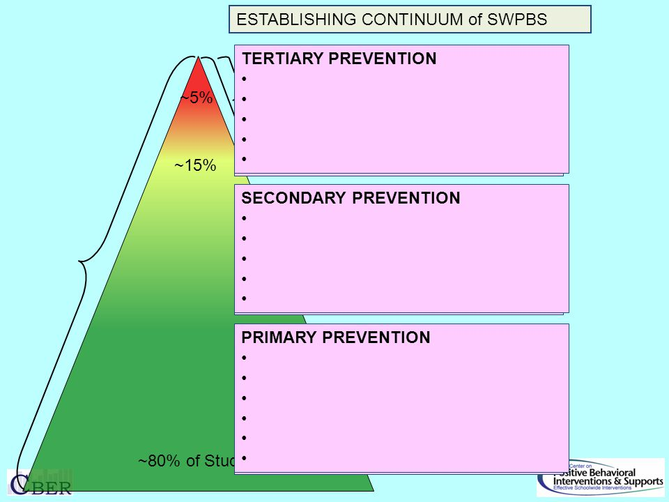 ~80% of Students ~5% ESTABLISHING CONTINUUM of SWPBS SECONDARY PREVENTION Check in/out Targeted social skills instruction Peer-based supports Social skills club TERTIARY PREVENTION Function-based support Wraparound Person-centered planning PRIMARY PREVENTION Teach SW expectations Proactive SW & classroom discipline Positive reinforcement Effective instruction Parent engagement Active supervision SECONDARY PREVENTION TERTIARY PREVENTION PRIMARY PREVENTION ~15%