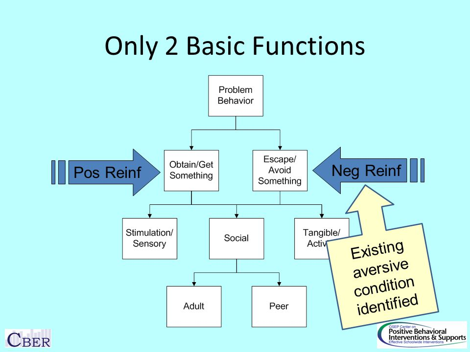 Only 2 Basic Functions Pos Reinf Neg Reinf Existing aversive condition identified
