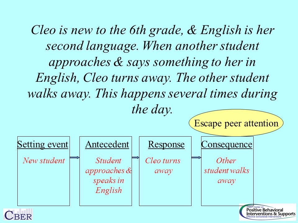 Setting eventAntecedentResponseConsequence Cleo is new to the 6th grade, & English is her second language.