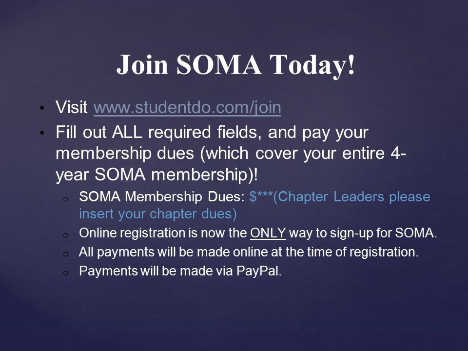Join SOMA Today.