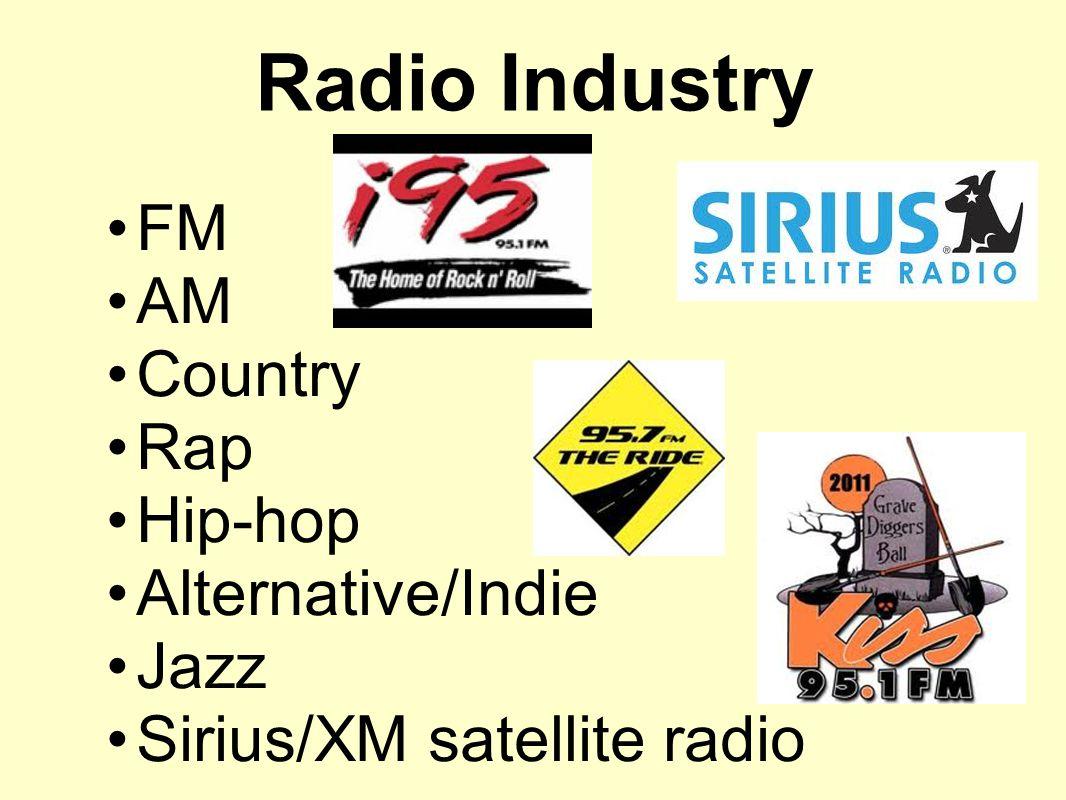 Radio Industry FM AM Country Rap Hip-hop Alternative/Indie Jazz Sirius/XM satellite radio
